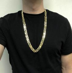 10k yellow gold thick tiger eye link chain 30 inch 12.50mm