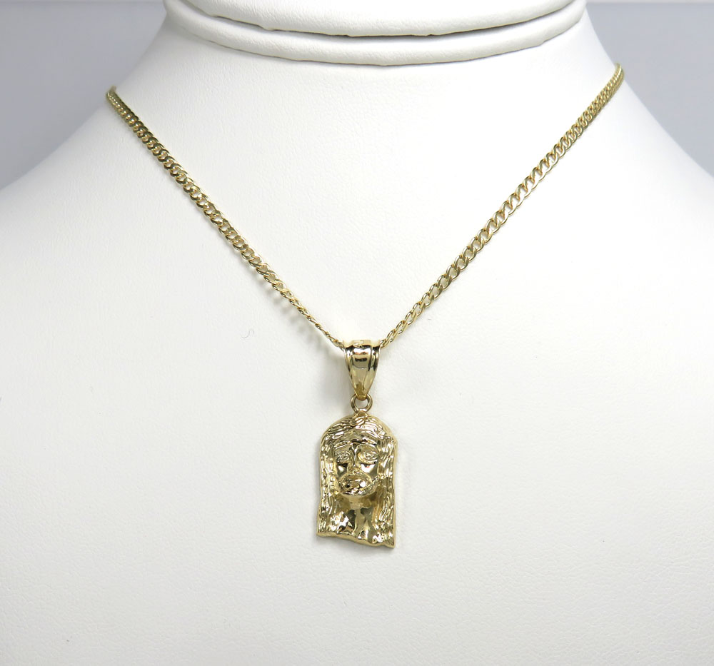 10k yellow gold small closed back jesus pendant with 18-24 inch 2.50mm cuban chain
