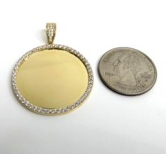 14k yellow gold large cz picture pendant 1.50ct