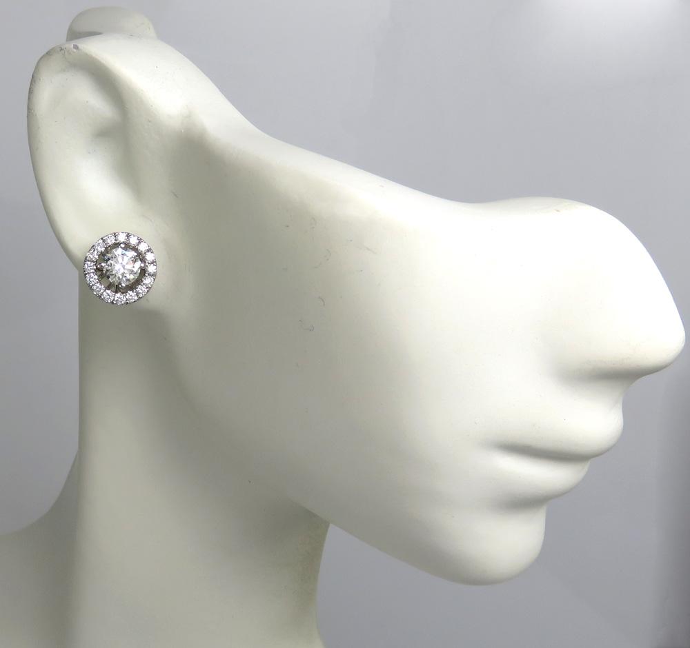 18k white gold round 9.5mm halo diamond studs 1.50ct