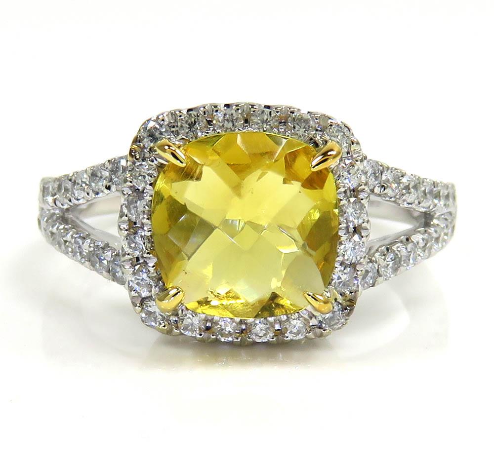 Ladies 14k white gold canary citrine diamond ring 3.50ct