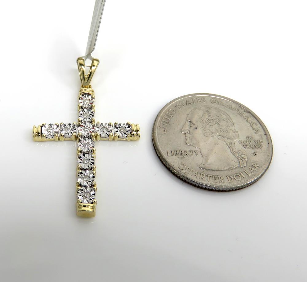10k yellow gold medium diamond cut diamond cross 0.13ct