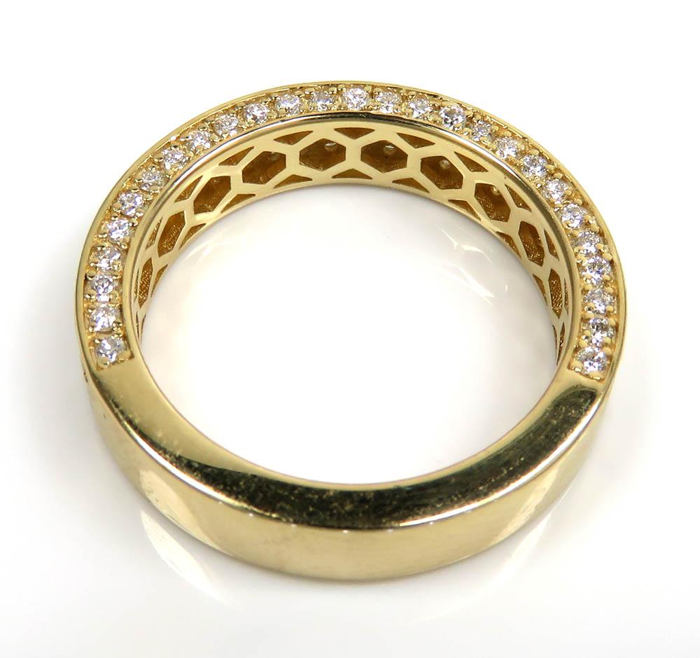 14k gold half diamond iced out wedding band 1.50ct