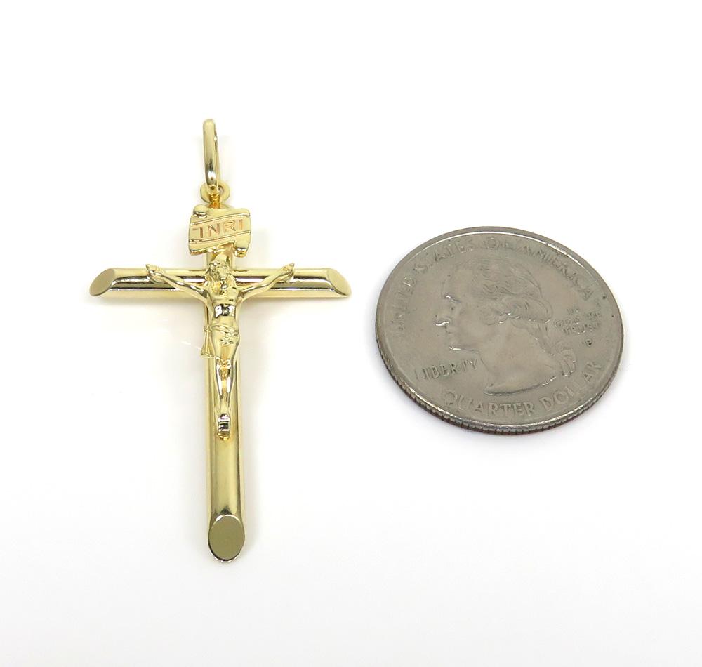 14k yellow gold medium jesus tube cross pendant