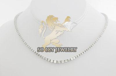 12.95ct ladies 14k white gold round diamond graduating stone tennis chain