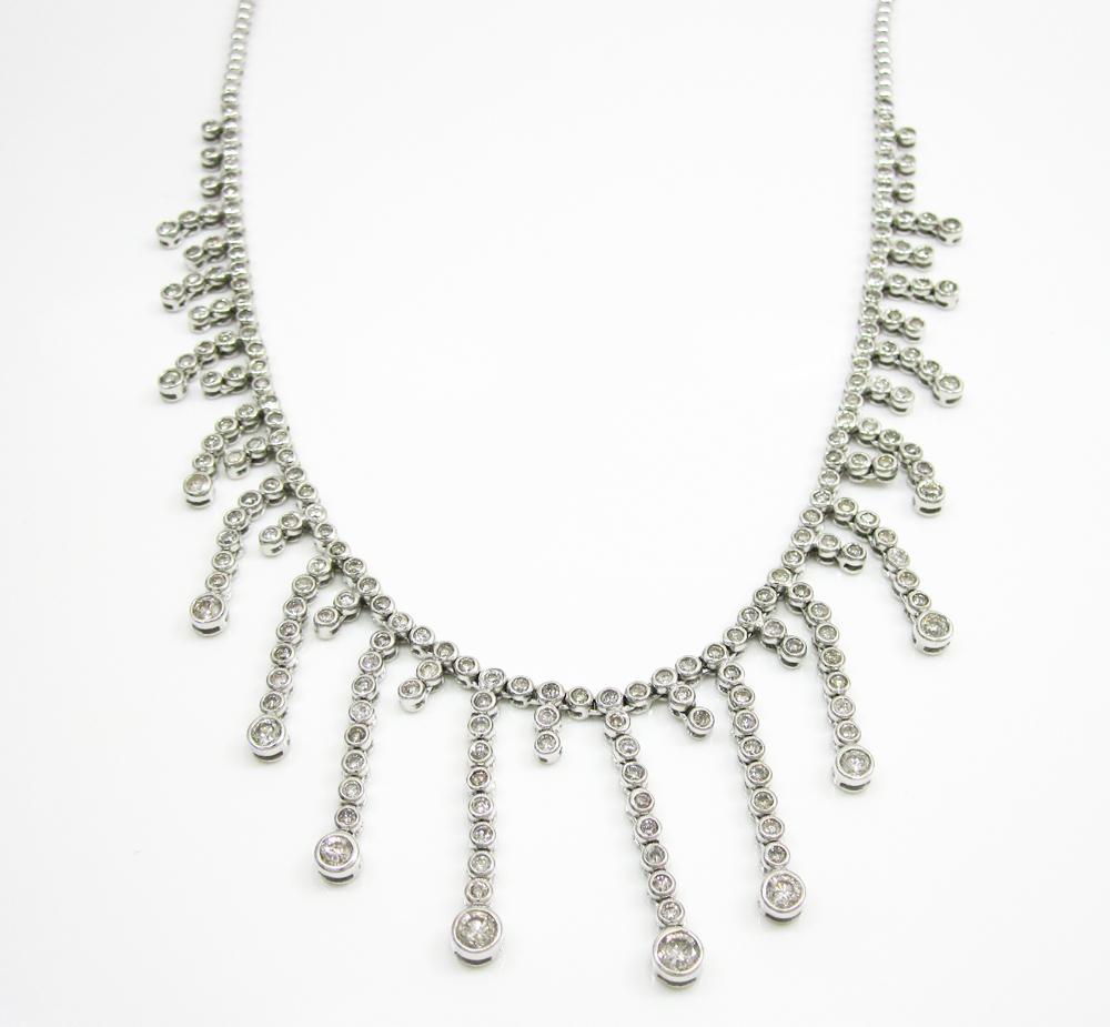 Ladies 14k white gold rain bezel diamond necklace 5.50ct