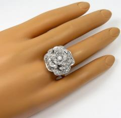 2.00ct 14k solid white gold white diamond flower ring