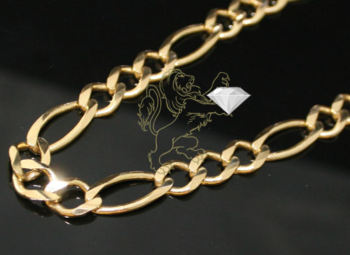 10k solid yellow gold figaro link chain 26 inch 6.5mm