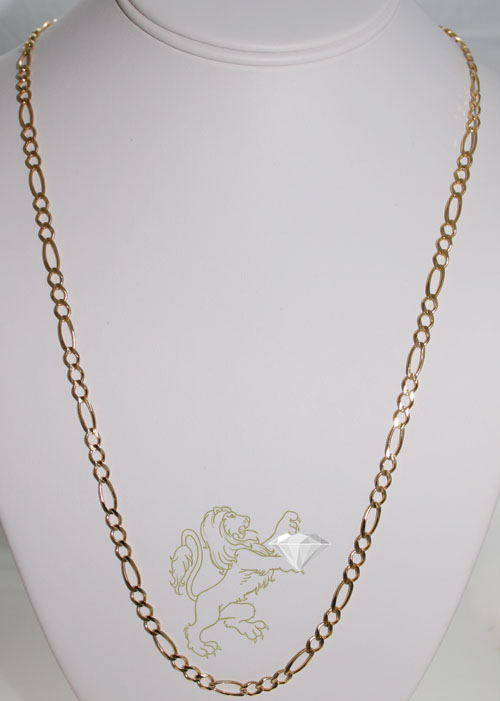 45e83ce971fd3 10K SOLID YELLOW GOLD FIGARO CHAIN 24 INCH 5MM