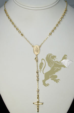 14k yellow gold diamond cut rosary 29 inch 3.8mm