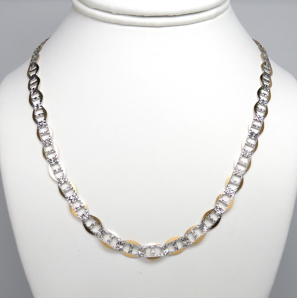 10k yellow gold yellow diamond cut mariner chain 18-30 inch 7mm