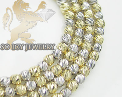 14k two tone gold diamond cut