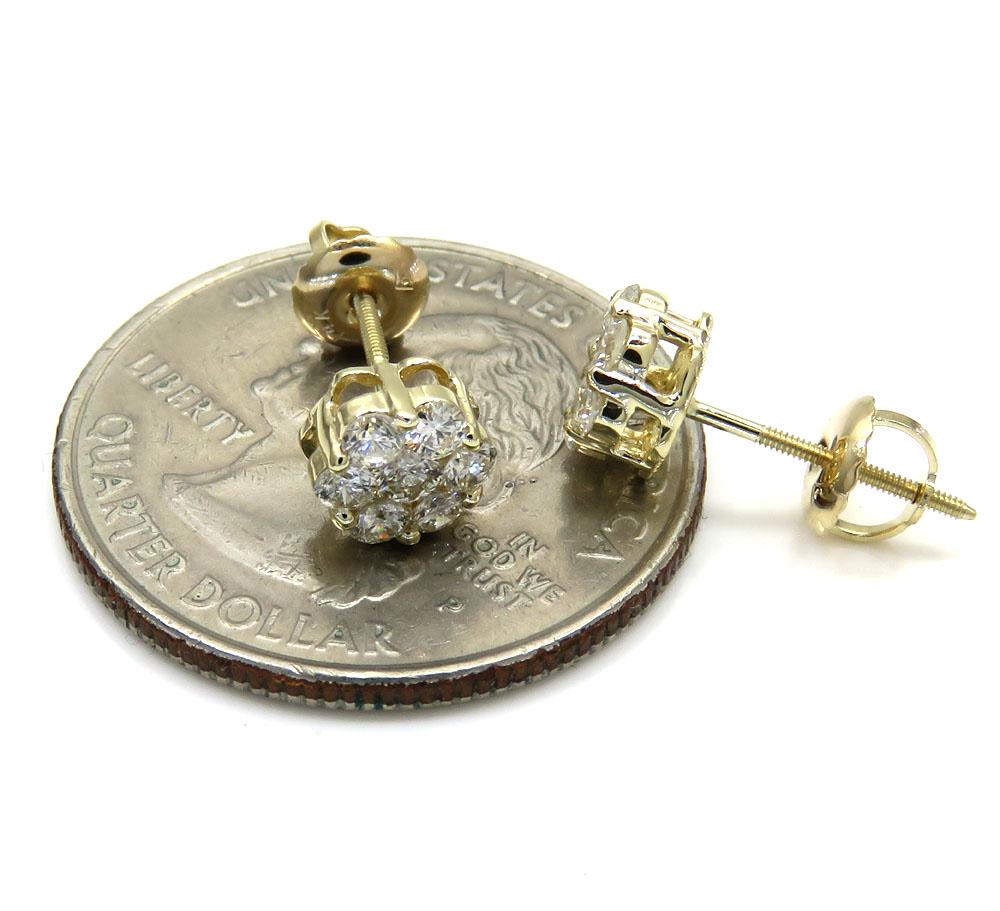 6mm 0.75ct 14k yellow, white, rose gold round cluster diamond studs