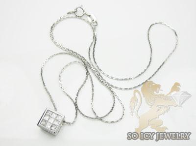 0.35ct 14k white gold princess diamond necklace pendant