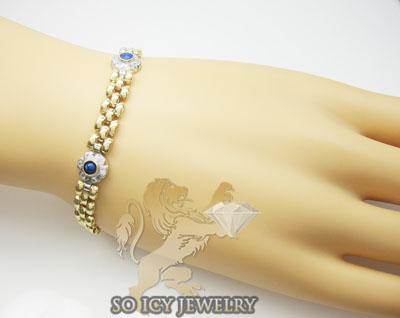 Ladies 14k yellow fancy italian gold & diamond bracelet