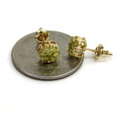 0.75ct 6mm 14k yellow gold diamond canary cluster studs