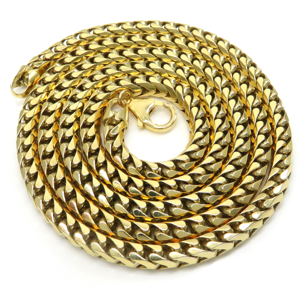 14k yellow gold solid franco chain 26-40 inch 5mm