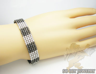Ladies 14k black & white gold fancy bangle bracelet