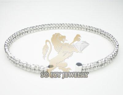 Ladies 14k white gold fancy 2 row bangle bracelet
