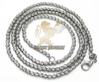 Ladies 14k black gold diamond cut bead necklace 2mm 16-24 inch