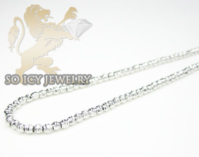 Ladies 14k white gold diamond cut bead necklace 2mm 16-18 inch