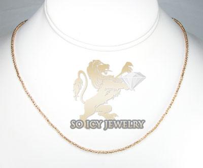 Ladies 14k  rose gold diamond cut bead necklace 1.8mm 16-24 inch