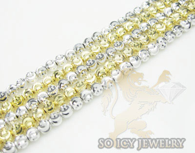 5 row 14k two tone diamond cut bead italian gold bracelet