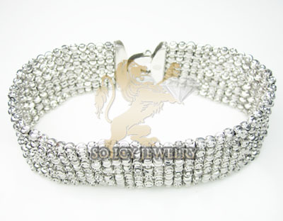 7 row 14k white gold diamond cut bead italian gold bracelet