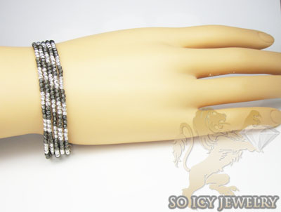 5 row 14k black & white gold  diamond cut bead italian gold bracelet
