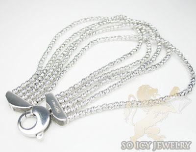 5 row 14k white diamond cut bead italian gold bracelet