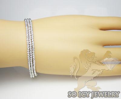 3 row 14k white diamond cut bead italian gold bracelet