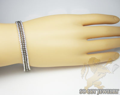 3 row 14k two tone diamond cut bead italian gold bracelet