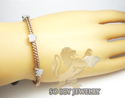 14k rose gold basket weave diamond heart bracelet
