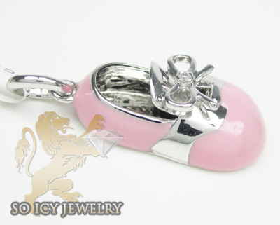 14k white gold pink enamel diamond baby shoe pendant 0.01ct