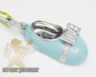 14k white gold baby blue enamel diamond baby shoe pendant 0.15ct