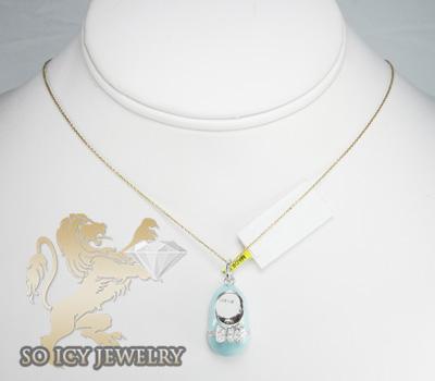14k white gold baby blue enamel diamond baby shoe pendant 0.15ct
