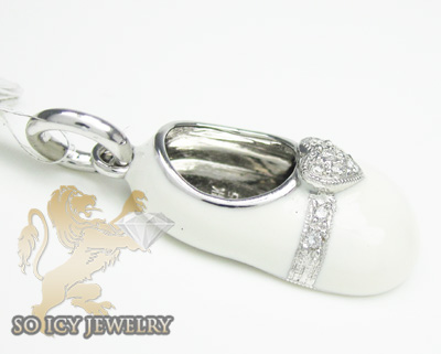 14k white gold white enamel diamond baby shoe pendant 0.07ct