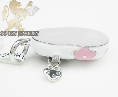 14k white & pink enamel diamond baby shoe pendant 0.08ct