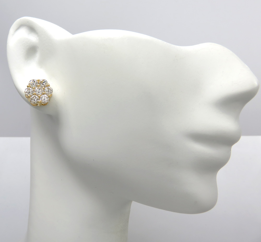 14k white or yellow gold round cluster diamond studs 1.85ct