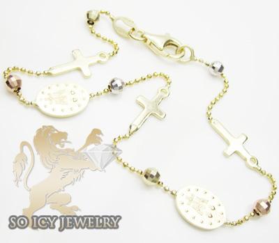 14k tri color gold jesus & rosary cross bracelet 2.50mm