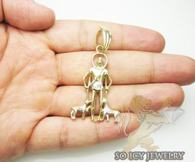 10k yellow & white gold mini saint lazarus pendant