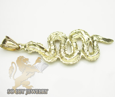 10k yellow & white gold diamond cut snake pendant