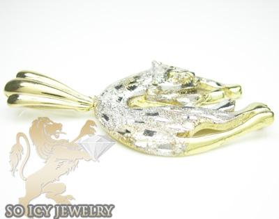 10k yellow & white gold diamond cut cat pendant