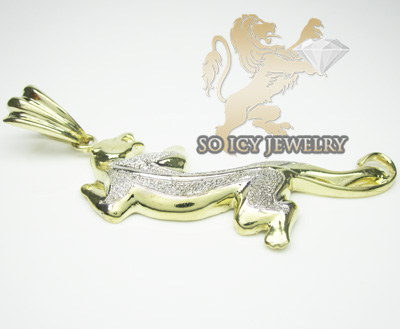 Mens ladies 10k yellow & white gold cougar pendant
