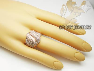 Ladies 18k rose gold round diamond cocktail ring 1.95ct