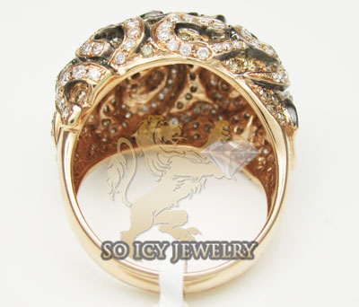 Ladies 18k rose gold white and chocolate diamond swirl ring 1.95ct