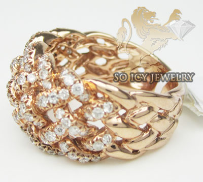 Ladies 18k rose gold diamond basket weave band  1.11ct