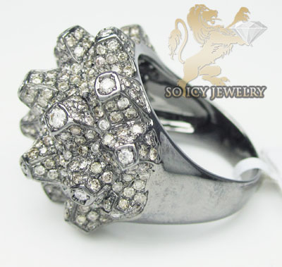 Ladies 18k black gold champagne & white diamond volcano ring 2.86ct