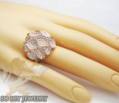 Ladies 18k rose gold diamond flower ring 3.22ct