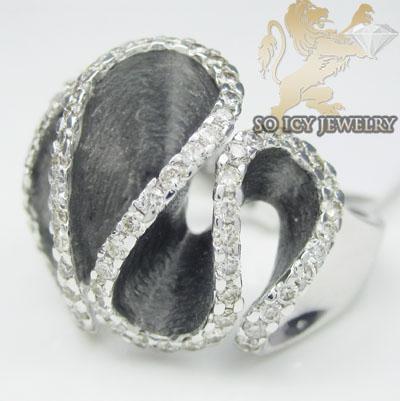 Ladies 18k white gold round diamond swirl fashion ring 1.06ct